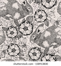vector floral seamless pattern with flowers and rabbits