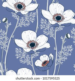 vector floral seamless pattern with hand drawn anemone flowers