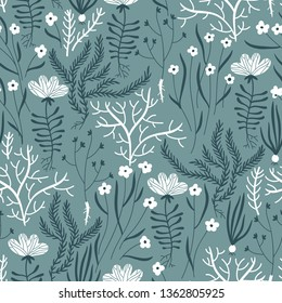 vector floral seamless pattern with hand drawn herbs and blooms