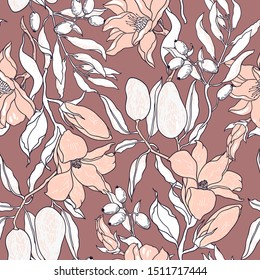 vector floral  seamless pattern with  hand drawn magnolia blooms, fruits and olives on a brown backgrond