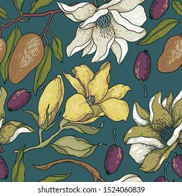 vector floral seamless pattern with hand drawn magnolia blooms and olives