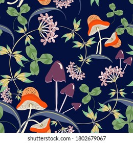 Vector floral seamless pattern with hand drawn mushrooms, flowers, leaves. Elegant floral background. Modern doodle style texture. Stylish natural wallpapers. Repeat design for decor, textile, print