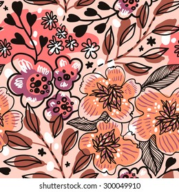 vector floral seamless pattern with hand drawn abstract flowers and leaves