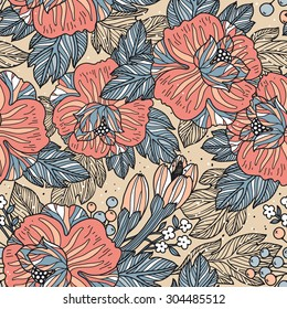 vector floral seamless pattern with hand drawn blooming roses