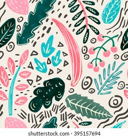 Vector floral seamless pattern with hand drawn plants,leaves, branch. Abstract vector background. Paint, watercolor, ink texture.