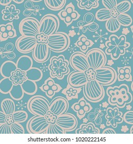 Vector floral seamless pattern. Handdrawn botanical backdrop.