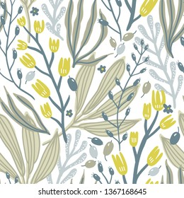vector floral seamless pattern with herbs,blooms and berries on a white background