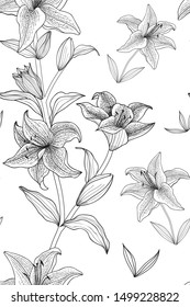 Vector floral seamless pattern line black and white Tiger Lily flowers for decoration on white background