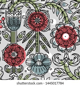 vector floral seamless pattern with linear hand drawn folk flowers