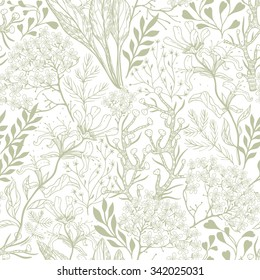 vector floral seamless pattern with linear plants and herbs