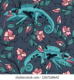 vector floral seamless pattern with lizards and blooming flowers