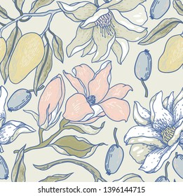 vector floral seamless pattern with pastel blooms, olivesd and fruits
