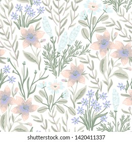 vector floral seamless pattern with pastel blooms and plants on a white background