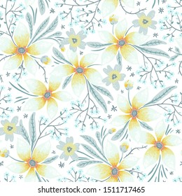 vector floral  seamless pattern with pastel blooms on a white background