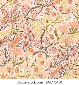 vector floral seamless pattern with pastel blooming flowers