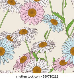 Vector floral seamless pattern. Pastel colors background with hand drawn chamomile flowers. Spring design for fabric, textile print, wrapping paper or web backgrounds.