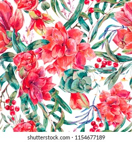 Vector floral seamless pattern of red flowers Amaryllis, eucalyptus, tropical leaves and succulents, botanical natural vintage illustration