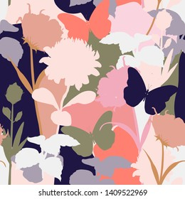 Vector floral seamless pattern. Silhouettes made of protea florals and botanical plants. design for fashion,fabric,wallpaper,web,and all prints