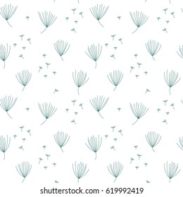 Vector floral seamless pattern with simple hand drawn stylized dandelion flowers and seeds. Thin lines doodle in teal color on white background.