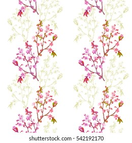 Vector floral seamless pattern with spring blossom, branch with pink flowers (cherry, plum, almonds), green outline, hand draw sketch and vector illustration on white background