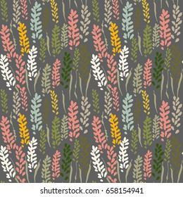 Vector floral seamless pattern with stylized lavender flowers and grass.Hand drawn flowers and grass outlines.
