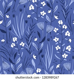 vector floral seamless pattern with summer herbs and flowers on a blue background