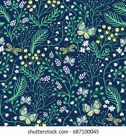 vector floral seamless pattern with summer herbs and butterflies
