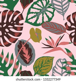 Vector floral seamless pattern with tropical Monstera leaves,Flamingo flower and exotic foliage. Bright botanical pattern with Palm leaves.Backdrop for wallpaper, fabric, textile, wrapper or surface.