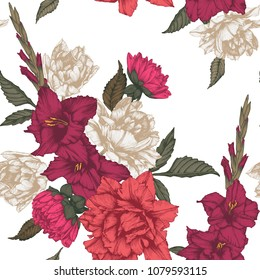 Vector floral seamless pattern with tulips and gladiolus flowers