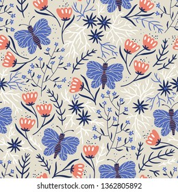 vector floral seamless pattern with tulips and butterflies
