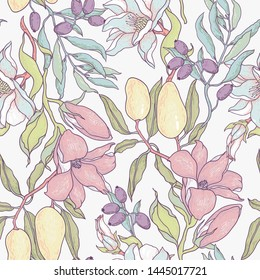 vector floral seamless pattern with vintage style fruits and blossoming flowers