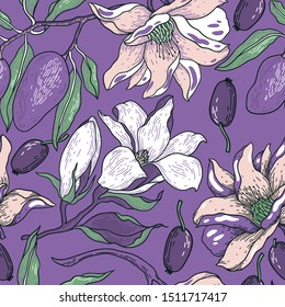 vector floral  seamless pattern with vintage style blooms and olive fruits on a violet background
