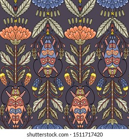 vector floral  seamless pattern with vintage style blooms and beetles on a dark background