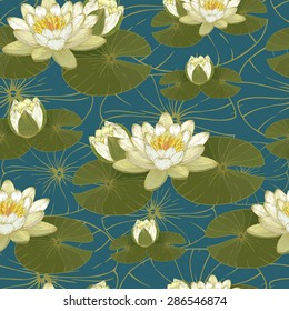 Vector floral seamless pattern with white water lilies