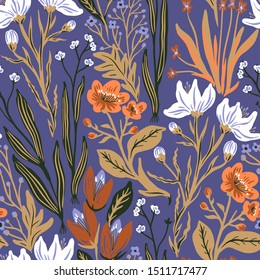 vector floral  seamless pattern with wild herbs and blooming flowers on a violet background