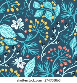 vector floral seamless pattern with wild herbs and berries