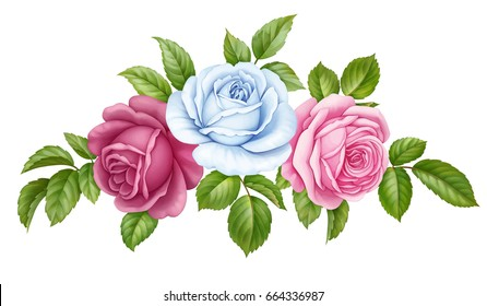 Vector floral set bouquet bunch of pink, red, blue white vintage rose flowers green  leaves isolated on white background. Digital watercolor illustration