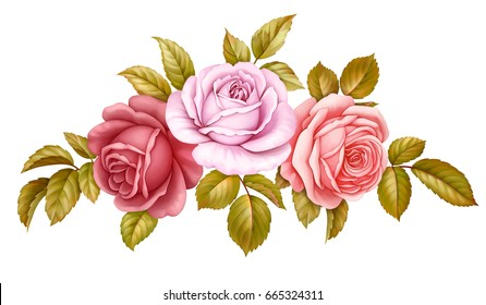 Vector floral set bouquet bunch of pink, red, blue white vintage rose flowers green golden leaves isolated on white background. Digital watercolor illustration.