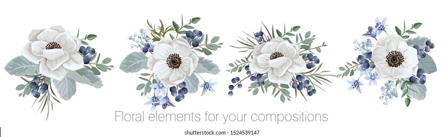 Vector floral set with leaves and flowers. Elements for your compositions, greeting cards or wedding invitations. Wedding anemones