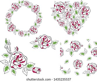 Vector floral set of roses, arrangement of roses, wreath of roses, heart of roses and seamless pattern. Black outline, hand-drawn. Design for cards, wedding, Wallpaper, textiles and posters.