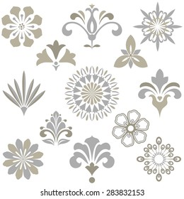 Vector floral set.  Spring or summer design for invitation, wedding or greeting cards. Design elements in graphic style.