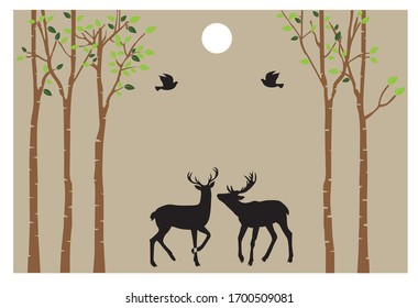 vector floral sticker wallpaper tree and deer wallpaper