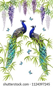 Vector floral summer  background with tropical wisteria flowers, bamboo, peacocks, butterflies. Perfect for wallpapers, web page backgrounds, surface textures, textile. A traditional indian ornament