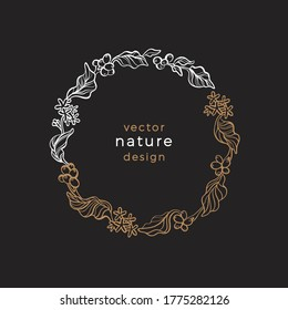 Vector floral symbol. Nature vintage wreath. Art drawn illustration isolated on black background. Coffee branch, tropical aroma bean. Organic lux card, bio frame