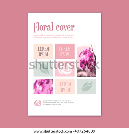 vector floral template booklet. The cover of the brochure for florist, flower shop, wedding, magazine  - stock vector