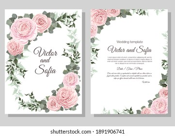 Vector floral template for wedding invitation. Pink roses, eucalyptus, green plants and leaves, asiatic buttercup.