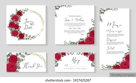 Vector floral template for wedding invitation. Red roses, eucalyptus, green plants and leaves. Gold polygonal frame.  Invitation card, thanks, rsvp, menu.