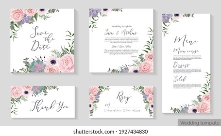 Vector floral template for wedding invitation. Pink roses, anemones, succulents, berries, green leaves and plants. Invitation card, thanks, rsvp, menu.