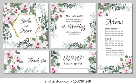 Vector floral template for wedding invitations. Pink royal orchids flowers, polygonal gold frame, green plants, leaves. All elements are isolated. Invitation card, thanks, rsvp, menu.