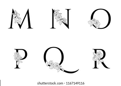 Vector  floral uppercase letters . Uppercase Letters M, N, O, P, Q, R with Flowers . Floral Design. Letters with decorative roses. Element of a wedding card, invitations.